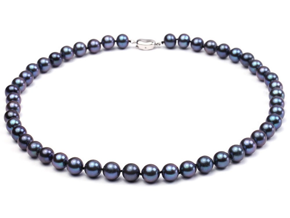 JYX Pearl Necklace Set 9-10mm AAA Quality Black Round Cultured Freshwater Pearl Necklace 18''