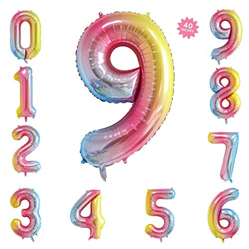 40 Inch Rainbow Jumbo Digital Number Balloons 9 Huge Giant Balloons Foil Mylar Number Balloons for Birthday Party,Wedding, Bridal Shower Engagement Photo Shoot, Anniversary