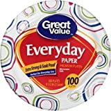 "Great Value 8 5/8"" Heavy Duty Premium Party Paper Plates, 100 ct"