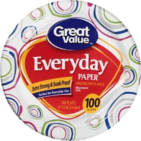 """Great Value 8 5/8"""" Heavy Duty Premium Party Paper Plates, 100 ct"""