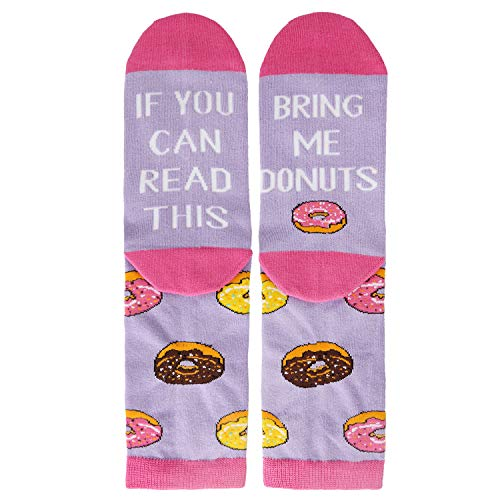 Novelty Funny Saying Crew Socks If You Can Read This Bring Me Donuts, Purple Crazy Food Socks for Women Girls