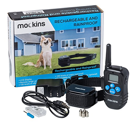 Dog Collar Shock ( mockins 100% Rainproof Rechargeable Electronic Remote Dog Training Shock Collar with Beep and Vibration - E-Collar with 330 Yards ( 990 ft ) Distance)