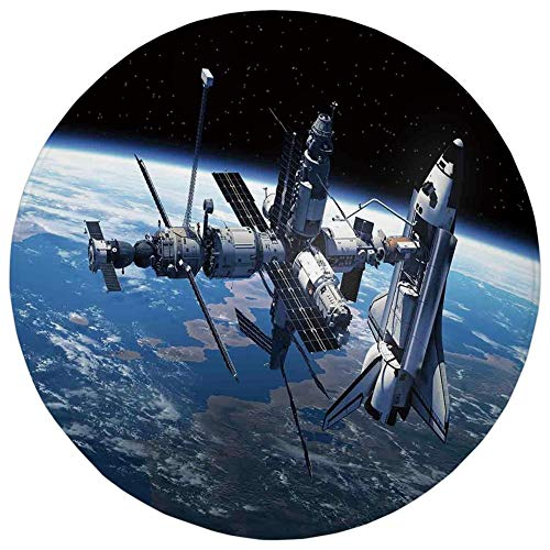 Round Rug Mat Carpet,Outer Space Decor,Space Shuttle and Station View Cosmonaut Adventure on the Myst Globe Orbit Off,Blue Grey Black,Flannel Microfiber Non-slip Soft Absorbent,for Kitchen Floor Bathr
