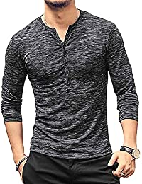 Men's Casual Slim Fit Long Sleeve Henley T-Shirts Cotton Shirts
