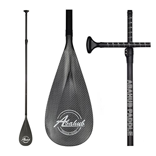 Abahub 3-Piece Adjustable Carbon Fiber SUP Paddle Carbon Shaft Carbon Print Plastic Blade + Bag