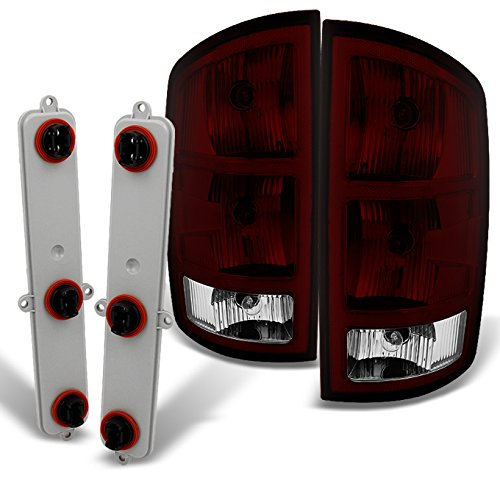 Dodge Ram 1500 | 2500 |3500 Pickup Truck Dark Red Tail Lights Replacement With Circuit Board Pair