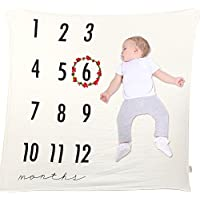 Newborn Baby Monthly Milestone Muslin Blanket + Flower Crown for Baby First Year Month Photo Prop Shoots Backdrop Photography for Each Month (Set B)