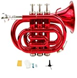 Merano B Flat Red Pocket Trumpet with Case+Mouth