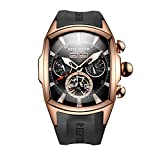 Reef Tiger Sport Watches for Men Rose Gold Tone Tourbillon Wrist Watches Rubber Strap RGA3069 (RGA3069-PBB)