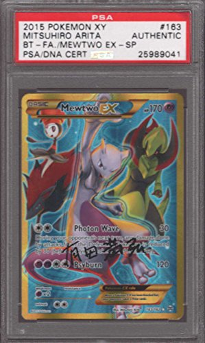 Mewtwo EX #163/162 PSA/DNA AUTO Japanese Autograph Signed Mitsuhiro Arita Full Art Secret Rare XY Breakthrough Photo