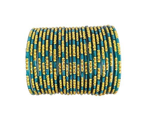 Funku Fashion Turquoise Classy Glass Bangle Set  24 Bangles