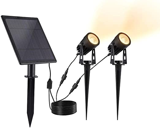 ALLOMN Foco Solar, Lámpara Solar Exterior Para Césped IP65 Panel Solar Para Jardines a Prueba de Agua Luz de Panel Automático Encendido/Apagado, ángulo de 270 °, Alto Brillo, 2 Luces, Blanco Cálido: