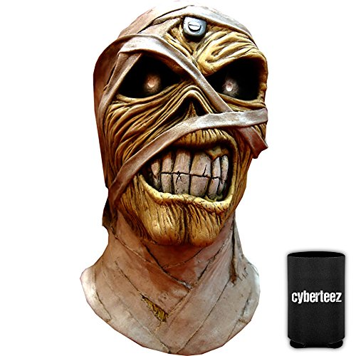 Iron Maiden Eddie Powerslave Men's Latex Costume Overhead Mask + Coolie ()