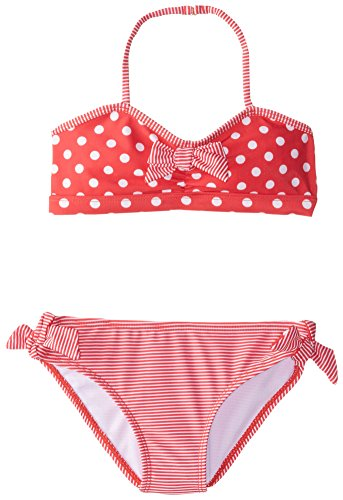 (Jantzen Big Girls' 2 Piece Polka Dot and Stripe Bikini, Red, 14)