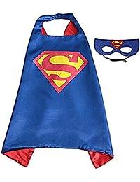 Kids Dress up Cartoon Superhero Costume with Satin Cape and Matching Felt Mask