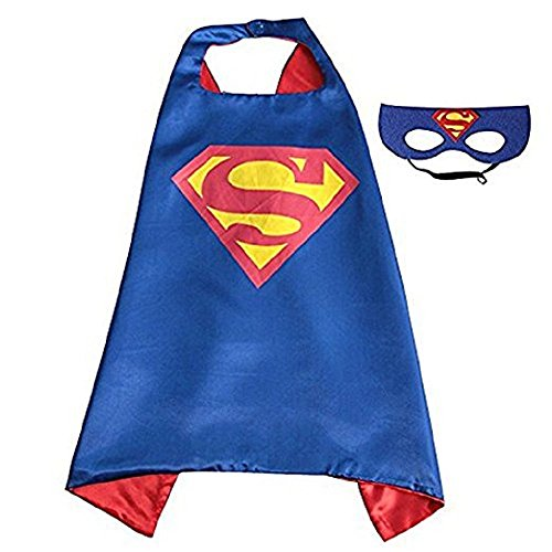 ERT13 Kids Dress up Comic Cartoon Superhero Costume with Satin Cape and Matching Felt Mask