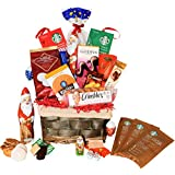Christmas Gift Baskets Godiva, Starbucks, Macaroons, Chocolate, Santa, Lindt, Walkers, Holiday - Premium Gift Baskets for Family, Friends, Colleagues, Office, Men, Women, Corporate, Him, Her