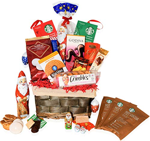 Christmas Gift Baskets Godiva, Starbucks, Macaroons, Chocolate, Santa, Lindt, Walkers, Holiday - Premium Gift Baskets for Family, Friends, Colleagues, Office, Men, Women, Corporate, Him, Her ()