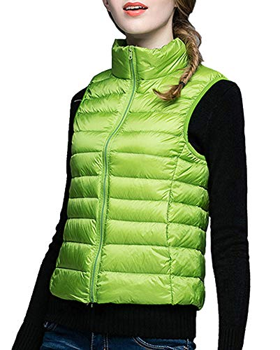 Down Jackets Fit Lightweight Slim Vest Sleeveless GUOCU Women's Short Green Down q7wOnfwg