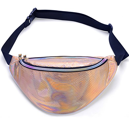 Miracu Neon Holographic Fanny Pack, 80s Cute Fashion Fanny Packs for Women Girls, Shiny Waist Pack Bum Bag for Rave, Festival, Party, Travel (Textured Holographic Gold)