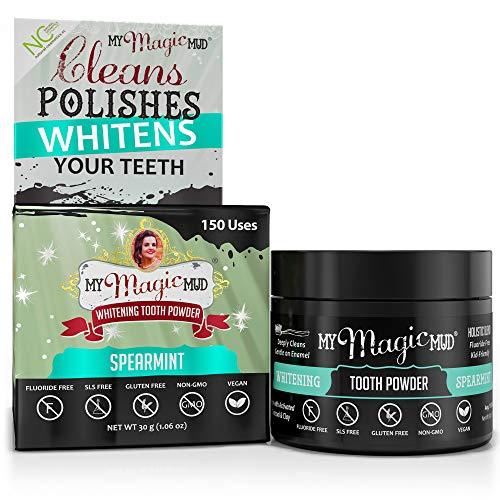 My Magic Mud – Whitening Tooth Powder, Polishing, Brightening, Charcoal, Spearmint, 1.06 oz. (150 uses)