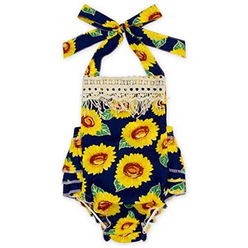 B. Bone Lovely Baby Girls Clothes Backless Tassel Strap Sun Bodysuit Sleeveless Square Collar Playsuit(Multi,18M)