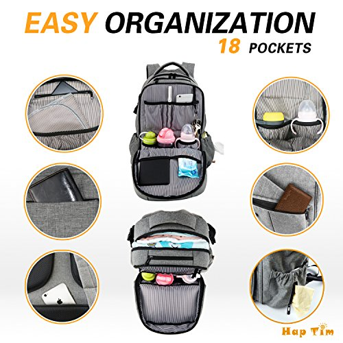 79a22ee48a03 HapTim Multi-function Large Baby Diaper Bag Backpack W Stroller Straps-Insulated  Pockets