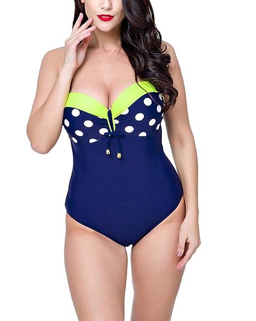 Mujer Retro 50s Punto Bikini Tallas Grandes Bañadores Una Pieza Traje De Baño Monokinis
