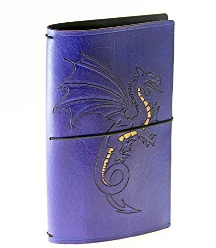Carved dragon with initials leather traveller's or Midori style journal by Skrocki Designs: fine leather and artisan jewelry