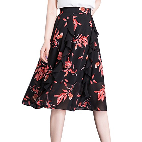 La Imprim Taille En Lady Jupe Taille Jupes Plus Bohme lastique Fleur vase Mode Plisse Soie De Black2 Plage Mousseline Jupes Femmes Sexy fxwqBT6W
