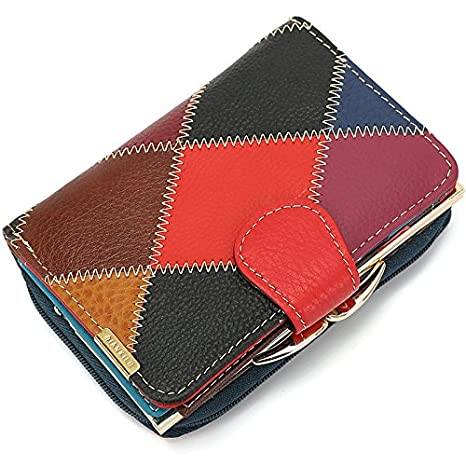 Jxth Ladies Purse Multi Credit Card Señoras de Cuero Monedero de Color Señoras Cremallera Cartera Hebilla Monedero Bolso de Embrague Monedero Patrones ...