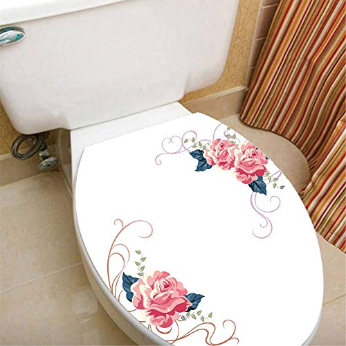 Merry Christmas Floral Patterned Decals Vinyl Stickers Window Fridge Toilets Closestool Stickers Waterproof Removable Double-Sided Visible Mural Stickers