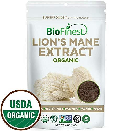 Biofinest Lions Mane Mushroom Extract Powder - 100% Superfood (Hericium erinaceus)- USDA Organic Vegan Non-GMO - Digestion Immunity Energy Tonic - for Smoothie Beverage Blend (4 oz Resealable Bag)