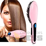 Hair Straightener Brush by WonderBrush, Electric Ceramic LCD Hair Straightening Iron, Instant Silky Straight, Anion Hair Care, Detangling Styling Comb