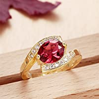 Ransopakul 18k Yellow Gold Filled Ruby Waterdrop Topaz Gemstone Jewelry Wedding Rings (9)