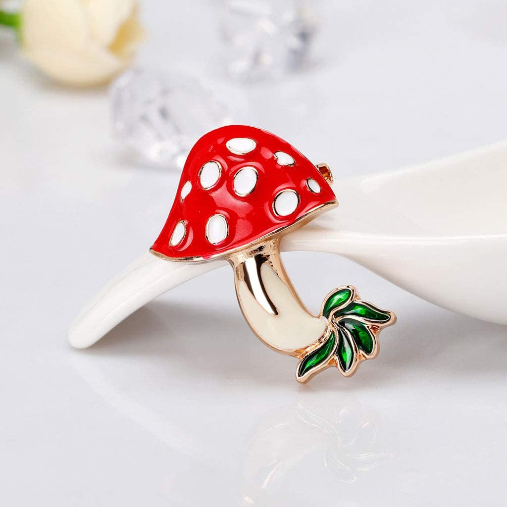 Misright Mushroom Brooch Decorative Enamel Charms Jewelry Badge Banquet Scarf Pins Gifts