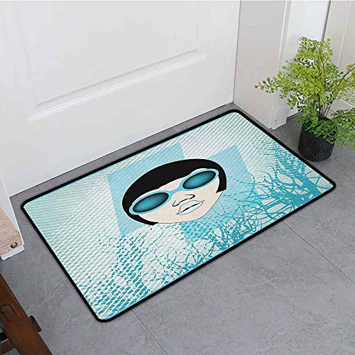 ONECUTE Pet Doormat,Indie Retro Woman Portrait with Vintage Sunglasses Short Hair Abstract Trees,Machine-Washable/Non-Slip,35