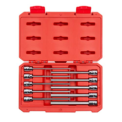 - TEKTON 3/8 Inch Drive Long Hex Bit Socket Set, 10-Piece (3-10 mm) | SHB91302