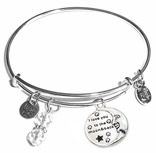 Message Charm (22 words to choose from) Expandable Wire Bangle Bracelet, in the popular style, COMES IN A GIFT BOX! (Love you to the Moon & Back)