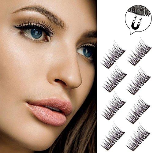 0cc9a375dea Double Magnetic False Eyelashes - No Glue Mess-Free Reusable - Best Fake  Lashes Extensions - Beautiful Natural Enhanced Eyes, Volumized Lashes (4  Pair, ...
