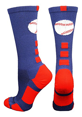 - MadSportsStuff Baseball Logo Crew Socks (Navy/Red, Small)
