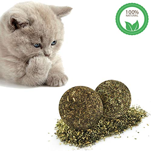 Kesoto Natural Cat Catnip Ball, Cat Dental Chew Ball Cleaning Teeth Grinding Toys Cat Treats Playing Relaxing Toy for Pet Kitten- Pack of -