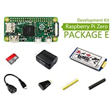 Raspberry Pi Zero V1.3 1GHz CPU 512MB Pi 0 Package E Basic Development Kit Micro SD Card, Power Adapter, 2.13inch e-Paper Hat, and Basic Components