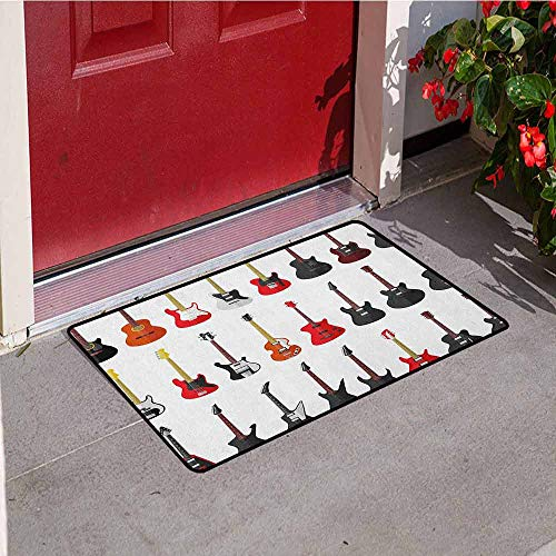 (GloriaJohnson Guitar Commercial Grade Entrance mat Musical Instruments Set Pattern with Various Acoustic Bass Making Music for entrances garages patios W29.5 x L39.4 Inch Vermilion Black White)