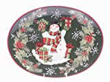 Certified International Vintage Snowman Oval Platter, 16-Inch by 12-Inch