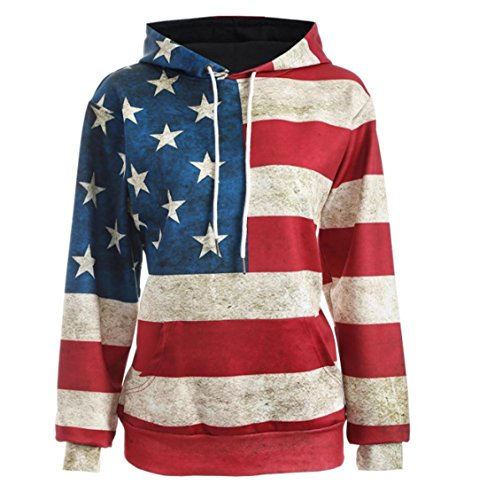 Women's Men Casual USA Flag Print Long Sleeve Pullover Hoodie Sweatshirt size Large