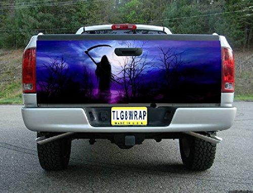 (Avery T07 Grim Reaper Skull Tailgate WRAP Vinyl Graphic Decal Sticker F150 F250 F350 Ram Silverado Sierra Tundra Ranger Frontier Titan Tacoma 1500 2500 3500 Bed Cover Tint Image)