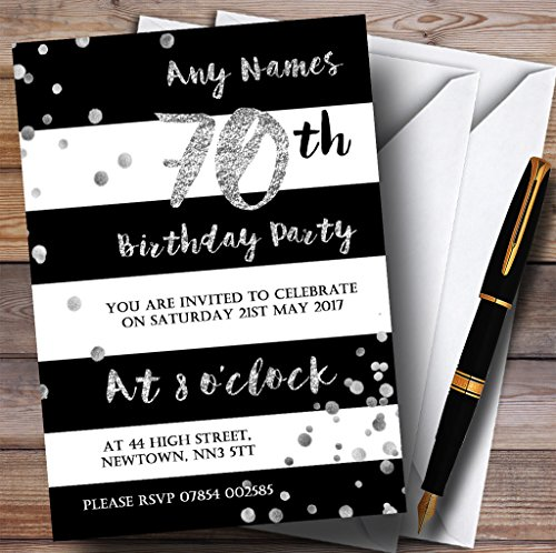 Black White Silver Confetti 70th Personalized Birthday Party Invitations -