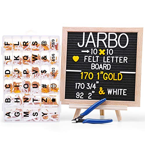 10x10 inches Black Felt Changeable Letter Board with Letters - JARBO Message Board with 432 White & Gold Letters and Emojis,Oak Frame, Letter Board Stand, Sticker, Letter Storage Box & Scissors ()