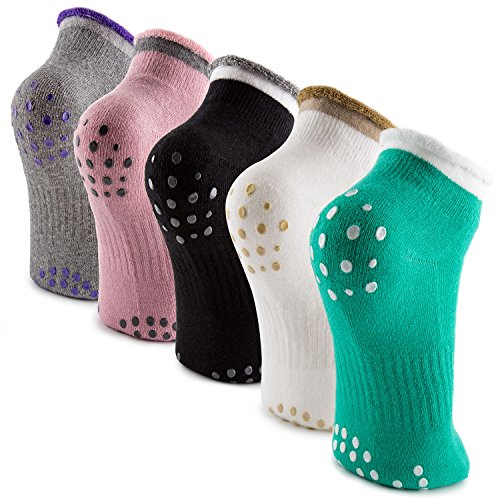 Pack of 5 Non Slip Cotton Yoga & Pilates Socks